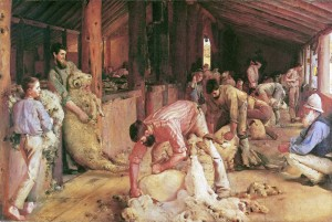 """""""Shearing of the Rams"""" is an iconic Australian painting by Tom Roberts"""
