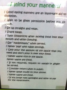 Rules posted outside Wafu