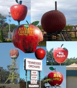 Australia's Big Apples (clockwise from top left) -- Thulimbah (QLD), Bacchus Marsh (VIC), Spreyton (TAS), Acacia Ridge (QLD), Yerrinbool (NSW), Donnybrook (WA) (inset) Batlow (NSW)