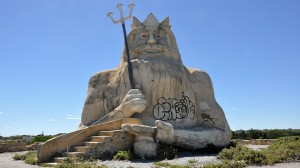 The dilapidated King Neptune from the abandoned Atlantis Marine Park in Perth.