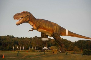 C;ive Palmer and Jeff the T-Rex at Palmer Coolum Resort on the Sunshine Coast in Queensland.
